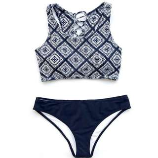 Blue Printed Swimsuit