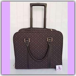 LV Epopee Dark Brown Mini Monogram Idylle Canvas Travel Rolling Bag