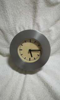 Vintage Rhythm Clock Japan Round Pewter Table Clock