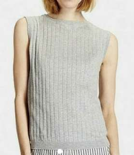 Charity Sale! Authentic Uniqlo Grey Sleeveless 100% Cotton Modest Work Office Women's Top Size XL