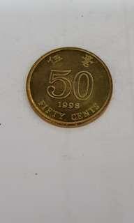 1998 Hong Kong 50 Cents Coin