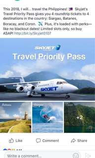 Send me your best offer! Deal Grocer/Skyjet Travel Priority Pass - Round Trip Tickets to 4 Local Locations w/ Exclusive Perks / No Black-out Dates until Dec 31, 2018!