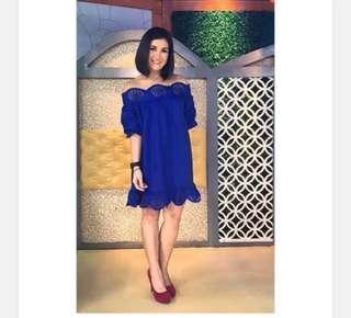Royal Blue Off- Shoulder Dress