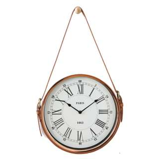 Leather Wall Clock (Rose Gold)