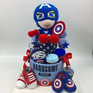 2-tier large Captain America Diapers Cake
