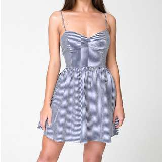 American Apparel Tie Back Dress Blue White Stripe XS S