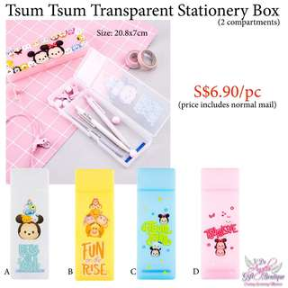 Tsum Tsum Transparent Stationery Box (2 compartments)