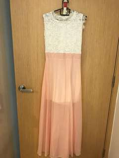 Long pink dress with lacy detail on top