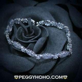 【Peggyhoho】全新18K白金2卡10份真鑽石手鍊| 送禮首選 | 典雅珠邊 大睇閃爍