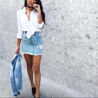Kookai Blue Diamond Denim Mini Skirt 34 6