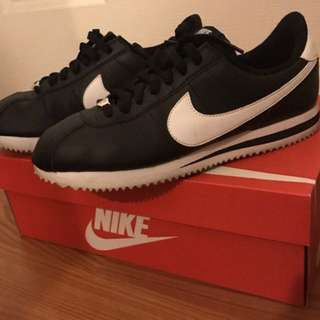 Black Leather Nike Cortez