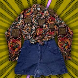 Vintage Retro Stained Glass Longsleeve Polo Buttondown
