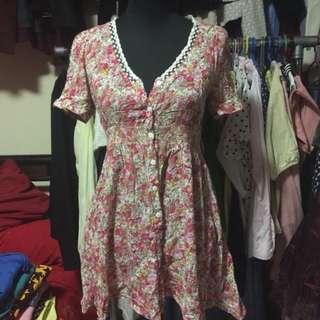 Floral Design V-Neck Dress