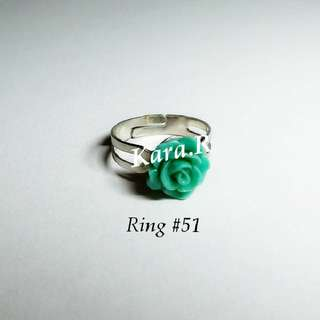#51 (Adjustable) Green Silver Rings Ladies Girls Women Female Lady Accessories Gift Presents