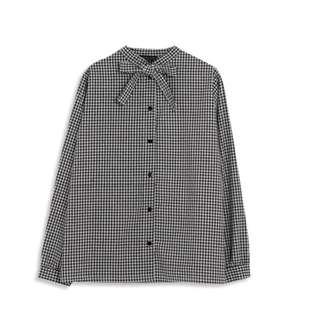 滿版黑白格紋領綁結襯衫 蝴蝶結 黑 白 襯衫