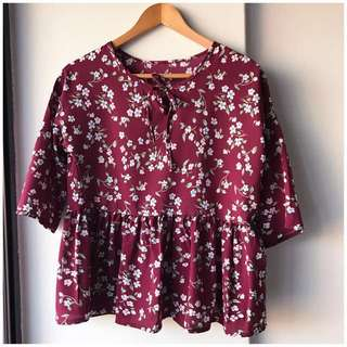 Brand new ulzzang style floral babydoll smock top
