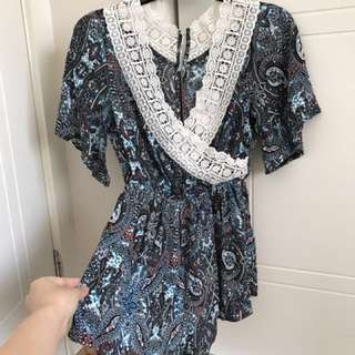 Valley Girl boho blue Romper