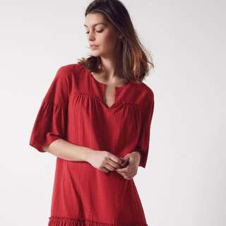 French - Comptoir des Cotonniers - 36 - Dress Bordeaux / Red - Size Small Or Medium