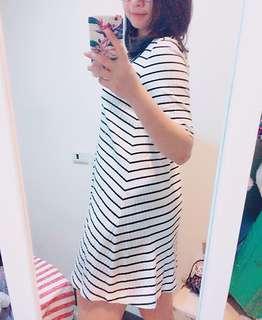 Uniqlo 五分袖 橫條紋 連身裙