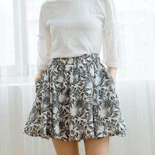 腰鬆緊滿版花裙 短裙 夏天 花紋 鬆緊