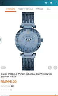 Prelove Authentic Guess Sky Blue Watch