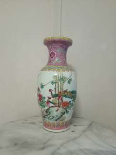 Classic Vase with enamel painting pair of Phoenix and peony flowers height 47cm perfect condition