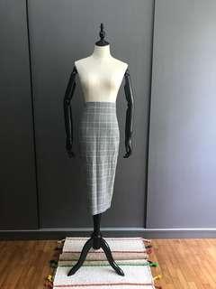 Zara Checked Midi Skirt