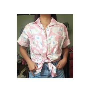 Oversized Buttondown Pastel Pink Floral