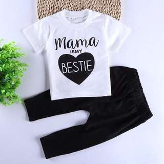 Instock - 2pc mama is my bestie set, baby infant toddler girl children sweet kid happy abcdefgh so pretty