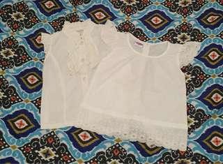 Lot of 2 Little Miss White blouse for girls