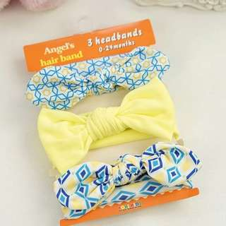 Instock - 3pc headband, baby infant toddler girl children sweet kid happy abccdefgh so pretty