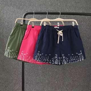(XL~3XL) 2018 Summer Korean loose elastic waist embroidered cotton shorts