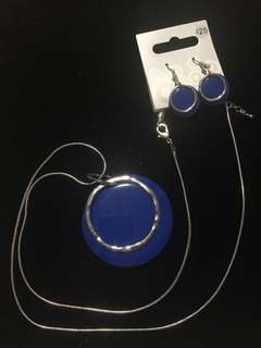 Dark Blue necklace and earring duo RRP$25