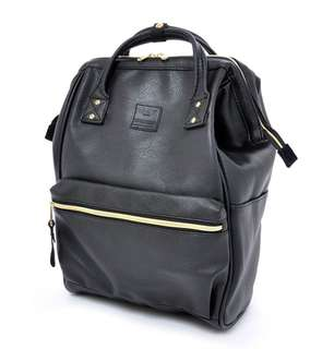 AUTHENTIC ANELLO BLACK LEATHER BACKPACK