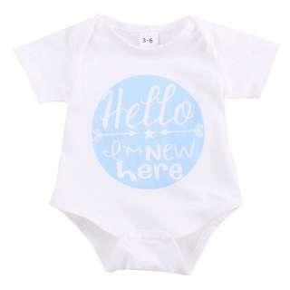 Instock - hello I am new here blue romper, baby infant toddler girl boy children sweet kid happy abcdefgh so pretty