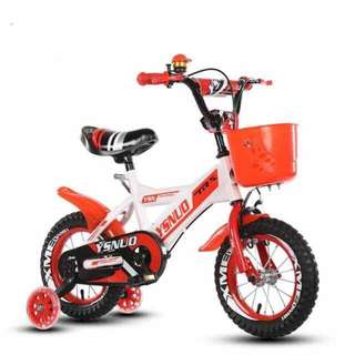 Free delivery -Brand new kids Bike/Bicycle with Basket , Front and Back Mud guards & training wheels, Adjustable seat height etc