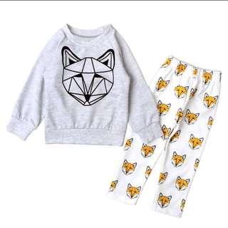 Instock - 2pc fox set, baby infant toddler girl boy children cute glad 123456789