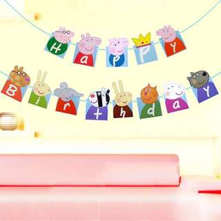 Instock - peppa pig birthday banner, baby infant toddler girl children cute glad