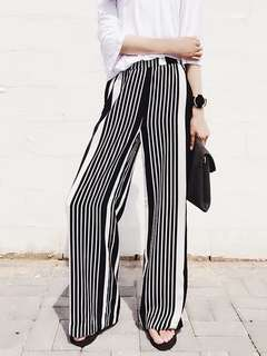 [NEW] Striped Black and White Strip Loose Long Pants