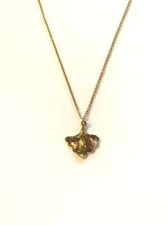 Gold plated large ginkgo pendant necklace (handmade)