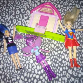 Mini Dolls and Barbie House