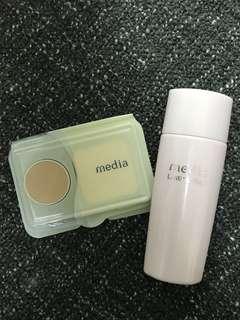 🚚 (用兩次)Media粉紅罐保濕防曬妝前乳+粉餅