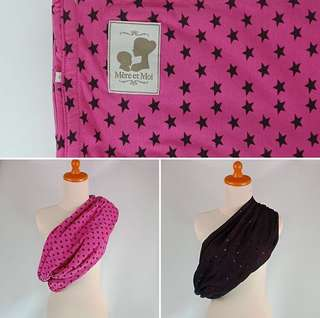 Riversible Pouch Baby Sling - Pink Black Star