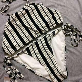 Cotton On black and white stripes bikini