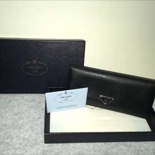 Black Prada Long Wallet