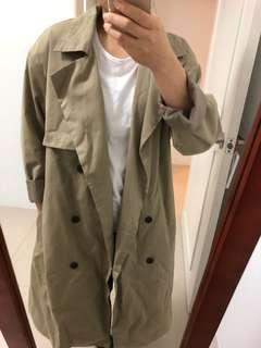 正韓長版風衣外套