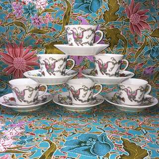 Hand Painted White Ground Espresso Cups with saucer
