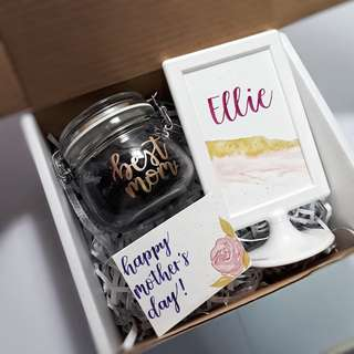 Mother's Day Gift Personalised Table Stand Mother's Day Card Customised Jar Gift Present Emboss Calligraphy Watercolour Birthday Present