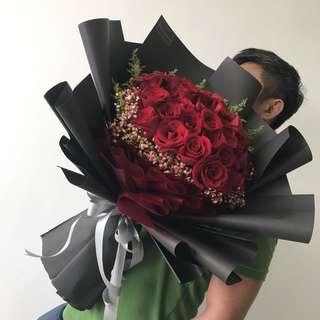 Flower Bouquet | 40 Premium Roses Bouquet
