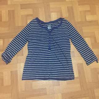 Striped 3/4 sleeves Top